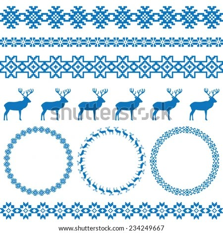 Winter blue holiday set on white background Deer and snowflake