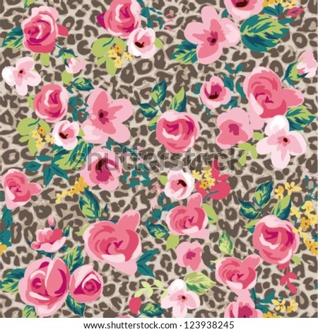 Betsey Johnson Wallpapers Quotes Seamless Vintage Cute Flower With Leopard Background Stock