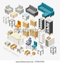Furniture Isometric Icons. Vector Illustration ...