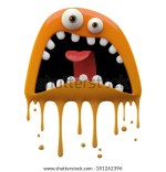 Monster Color Grunge Character Funny Design Element Humour Emoticon