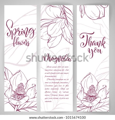 Floral baners Hand drawn vector botanical illustration Template