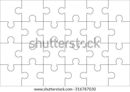 Jigsaw puzzle blank template 36 pieces Stock image and 3552853 - blank puzzle template