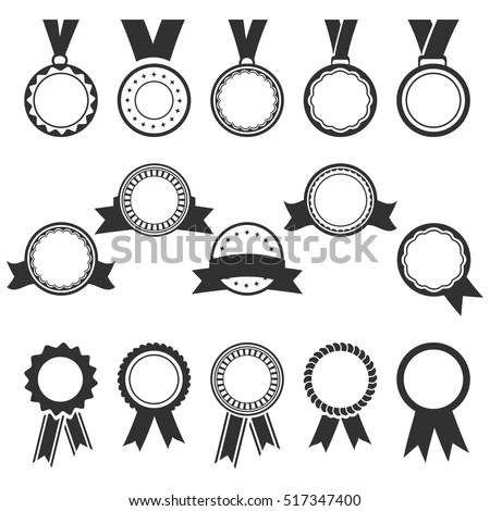 Vector Images, Illustrations and Cliparts set of black medal icons