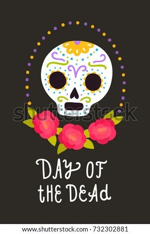 Day of the dead Vector cartoon style illustration Holiday template