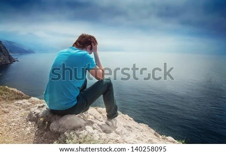Lonely Love Wallpapers With Quotes Sad Lonely Boy On A Hill Overlooking The Sea Stock Photo