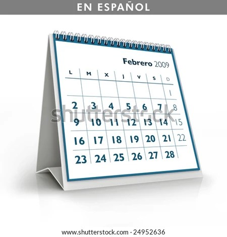2009 Calendar February Spanish Language Stock Illustration - Royalty