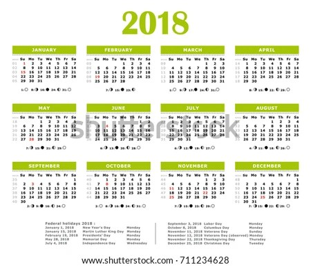 2018 Green Yearly Calendar Federal Holidays Stock Illustration