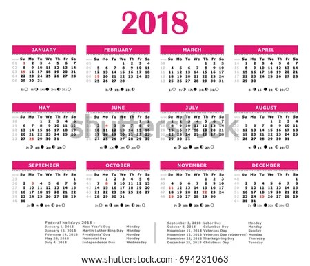 2018 Pink Yearly Calendar Federal Holidays Stock Illustration