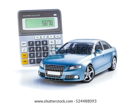 3 D Render Toy Car Calculator Concept Stock Illustration 524488093
