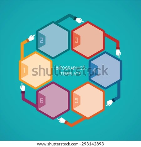 Abstract Bitmap 6 Steps Infographic Template Stock Illustration