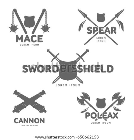 Abstract Medieval Guns Label Logo Template Stock Illustration