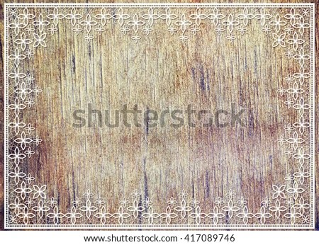 Aged Wooden Surface Lace Ribbons Frame Stock Illustration - Royalty