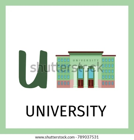 Alphabet Card Kids University Building Letter Stock Illustration