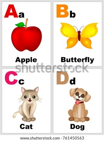 Alphabet Printable Flashcards Collection Letter B Stock Illustration
