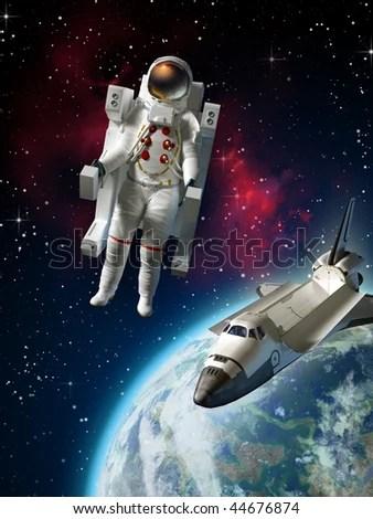 Astronaut Space Shuttle Exploring Space Near Stock Illustration