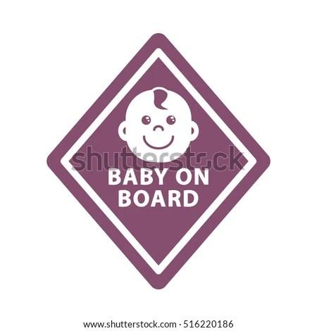 Baby On Board Sign On Violet Stock Illustration 516220186 - Shutterstock