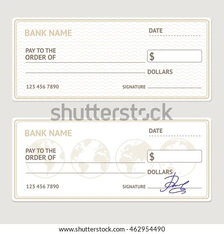 Royalty Free Stock Illustration of Bank Check Template Set Blank