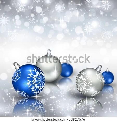 Best Elegant Christmas Background Blue Baubles Stock Illustration