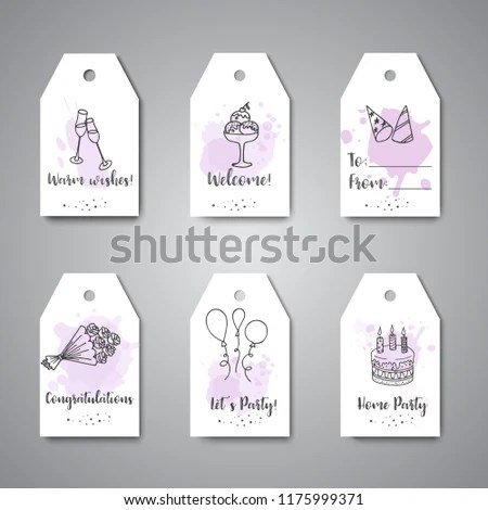 Birthday Party Doodle Gift Tags Template Stock Illustration