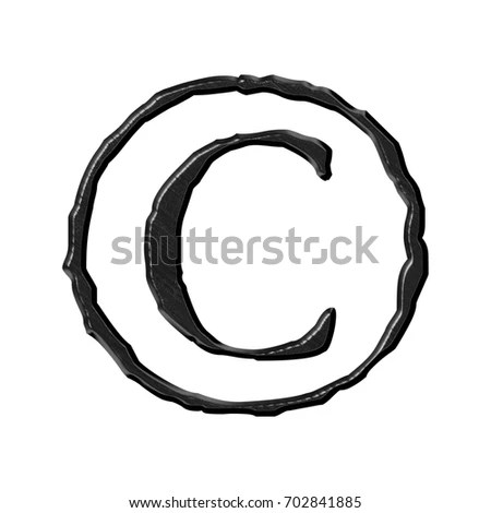 Black Etched Metal Copyright Symbol C Stock Illustration 702841885