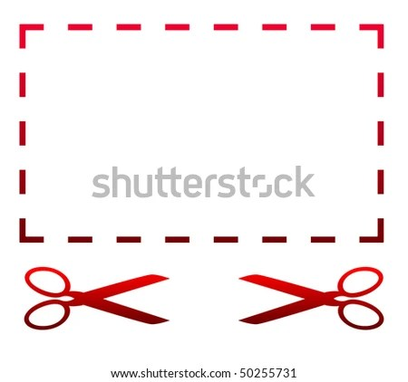 Blank Coupon Voucher Template Two Scissors Stock Illustration