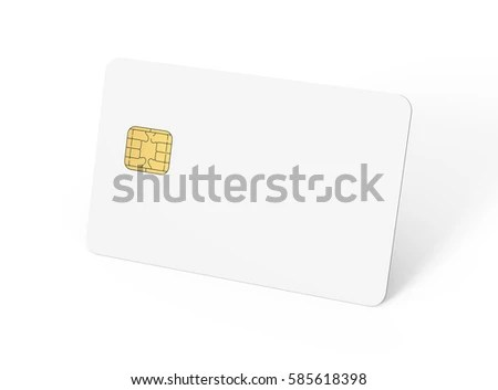Blank Credit Card Template Empty Chip Stock Illustration - Royalty