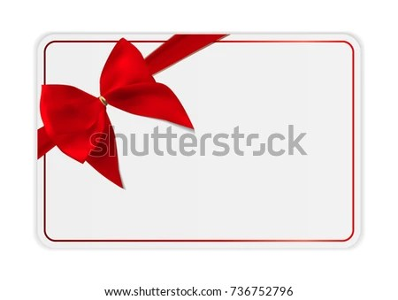 Blank Gift Card Template Bow Ribbon Stock Illustration 736752796