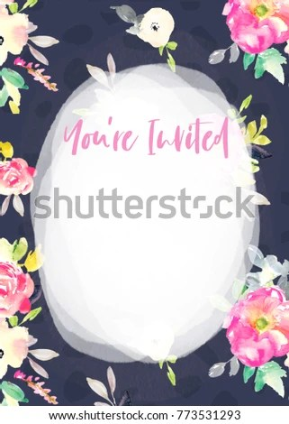 Blank Party Invitation Template Flowers Youre Stock Illustration