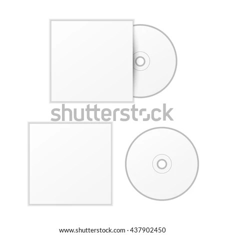 Blank White Compact Disk Cover Mock Stock Illustration 437902450