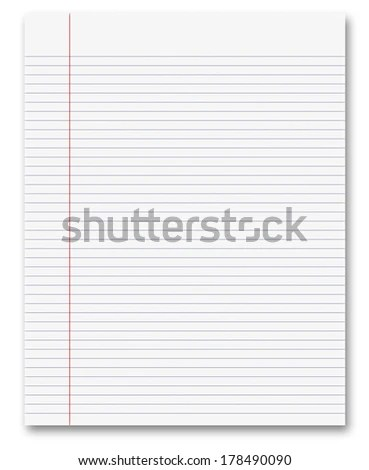 Blank White Paper Background Lined Page Stock Illustration 178490090