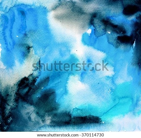 Blue Black Watercolor Background Stock Illustration 370114730