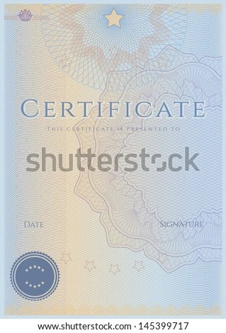 Blue Blank Certificate Completion Template Sample Stock Illustration
