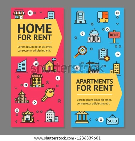 Building House Home Apartment Rent Flyer Stock Illustration