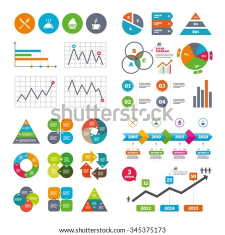 Business Data Pie Charts Graphs Food Stock Illustration - Royalty