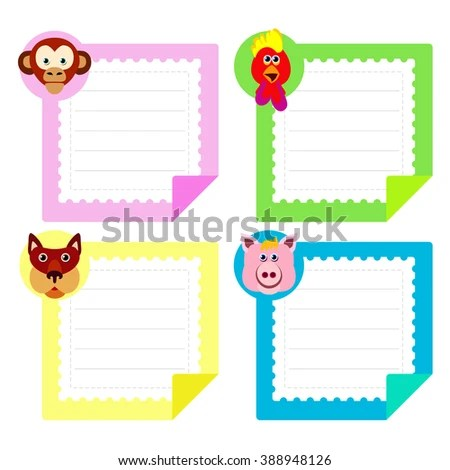 Calendar Template Eastern Horoscope Note Papers Stock Illustration
