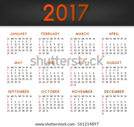 Royalty Free Stock Illustration of Calendar Year 2017 All Months