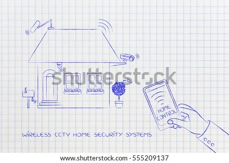 Royalty Free Stock Illustration of Cctv Cameras Wireless Security