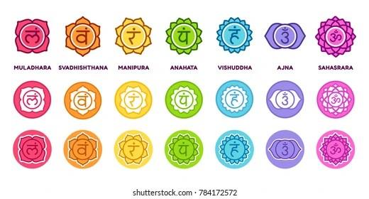 Chakra System Icon Set Different Styles Stock Illustration 784172572