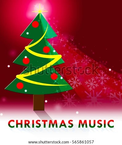 Royalty Free Stock Illustration of Christmas Music Tree Scene Shows