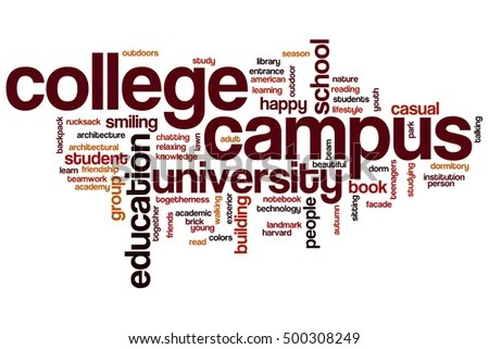 College Campus Word Cloud Concept Words Stock Illustration 500308249