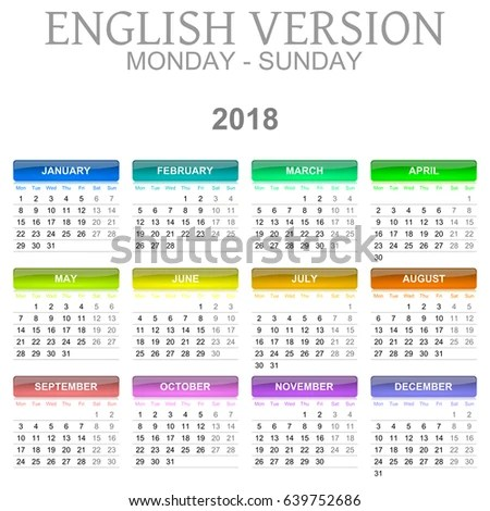 Colorful Monday Sunday 2018 Calendar English Stock Illustration