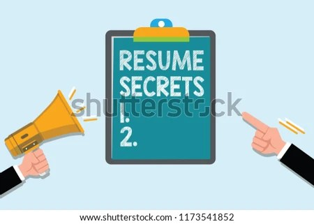 Conceptual Hand Writing Showing Resume Secrets Stock Illustration