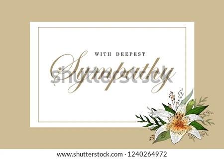 Royalty Free Stock Illustration of Condolences Sympathy Card Floral