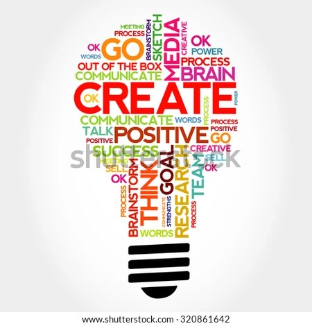 Create Bulb Word Cloud Business Concept Stock Illustration - Royalty