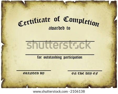 Customizable Certificate Completion Stock Illustration - Royalty