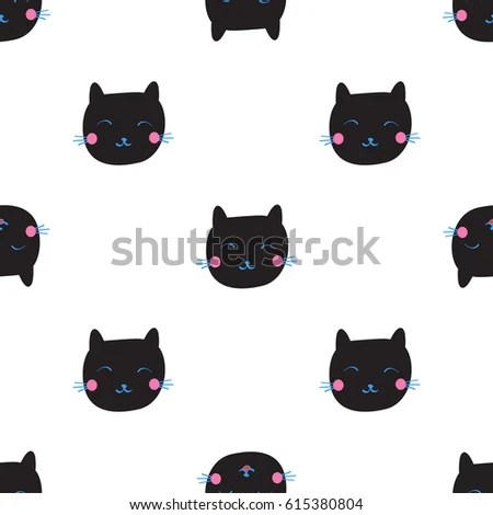 Cute Black Cat Emotions Seamless Pattern Stock Illustration