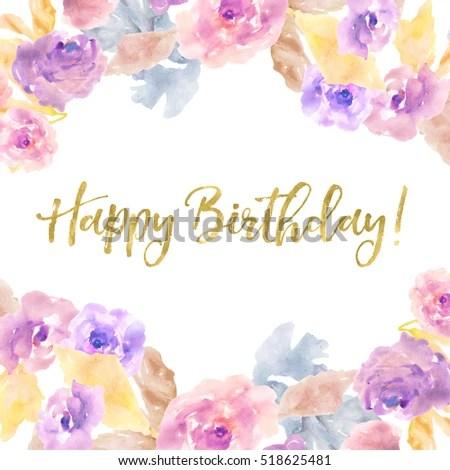 Cute Happy Birthday Calligraphy Background Purple Stock Illustration