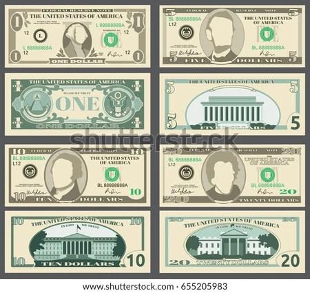 Dollar Banknotes Us Currency Money Bills Stock Illustration