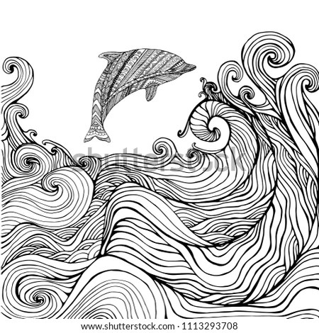 Dolphin Ocean Waves Coloring Page Children Stock Illustration