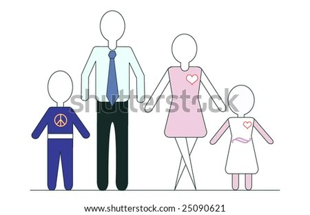 Every Man Approach Family Generic Figures Stock Illustration